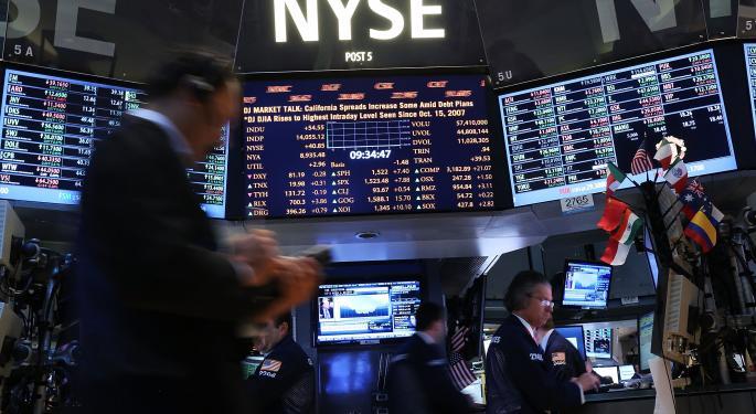 Mid-Morning Market Update: Markets Open Lower; Constellation Brands Profit Beats Estimates