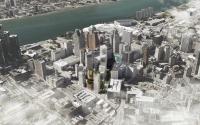 An aerial rendering of the Detroit skyline released by Bedrock.
