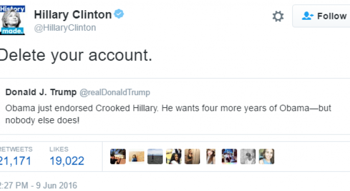 Hillary Clinton To Donald Trump: 'Delete Your Account' - Twitter (NYSE ...