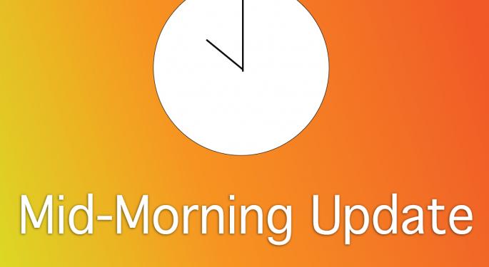 Mid-Morning Market Update: Markets Edge Lower, FedEx Posts Upbeat Profit